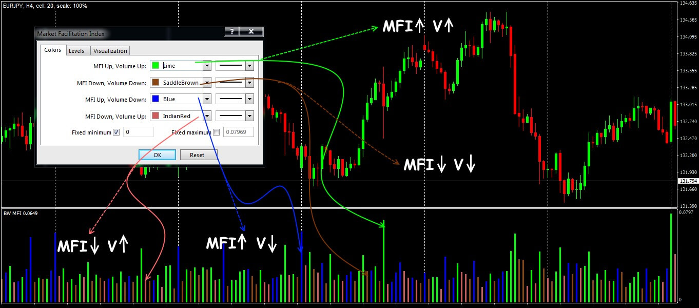 Parameters and general view of BW MFI indicator