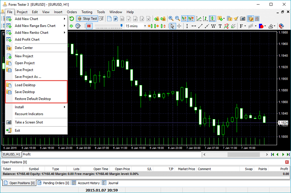 Forex Tester 3: save your results by saving the desctop