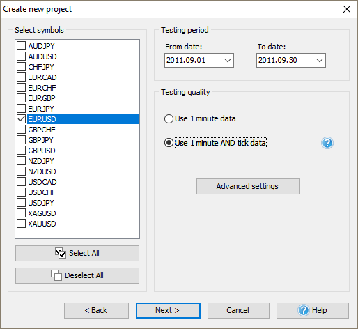 Create new project in Forex Tester to start backtesting