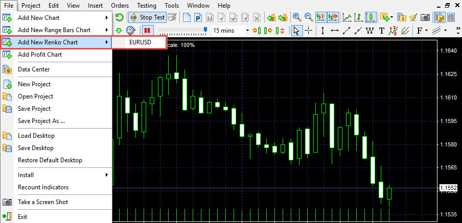"""Chart settings and """"View"""" menu in Forex Tester 3 - Help Center"""