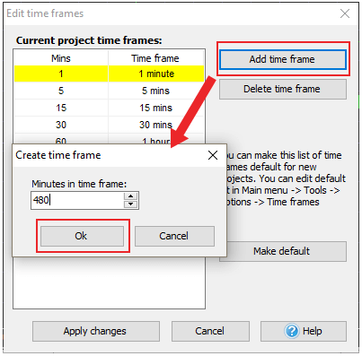 How to select time frames in Forex Tester trading simulator