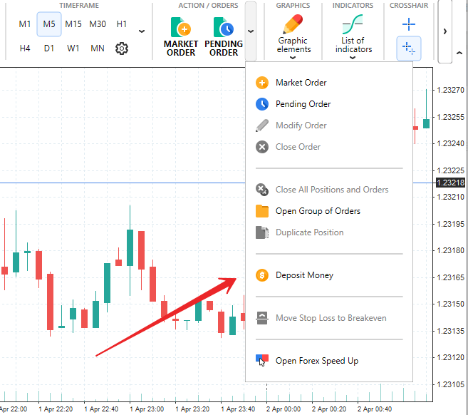 How to deposit and withdraw money in Forex Tester software