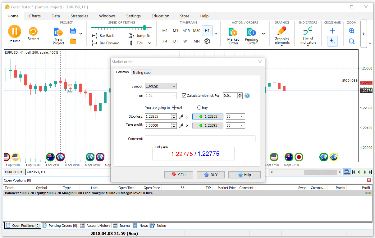 How to adjust market order settings in Forex Tester software