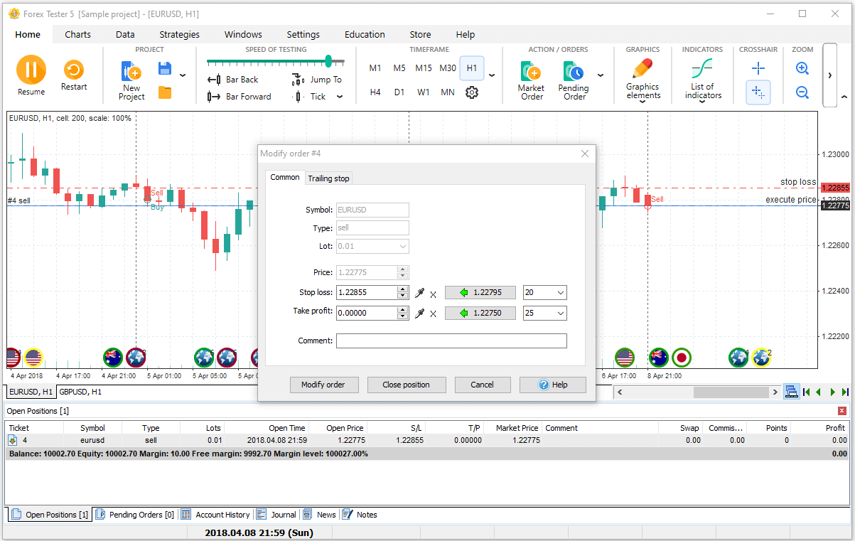 How to modify orders in Forex Tester trading simulator