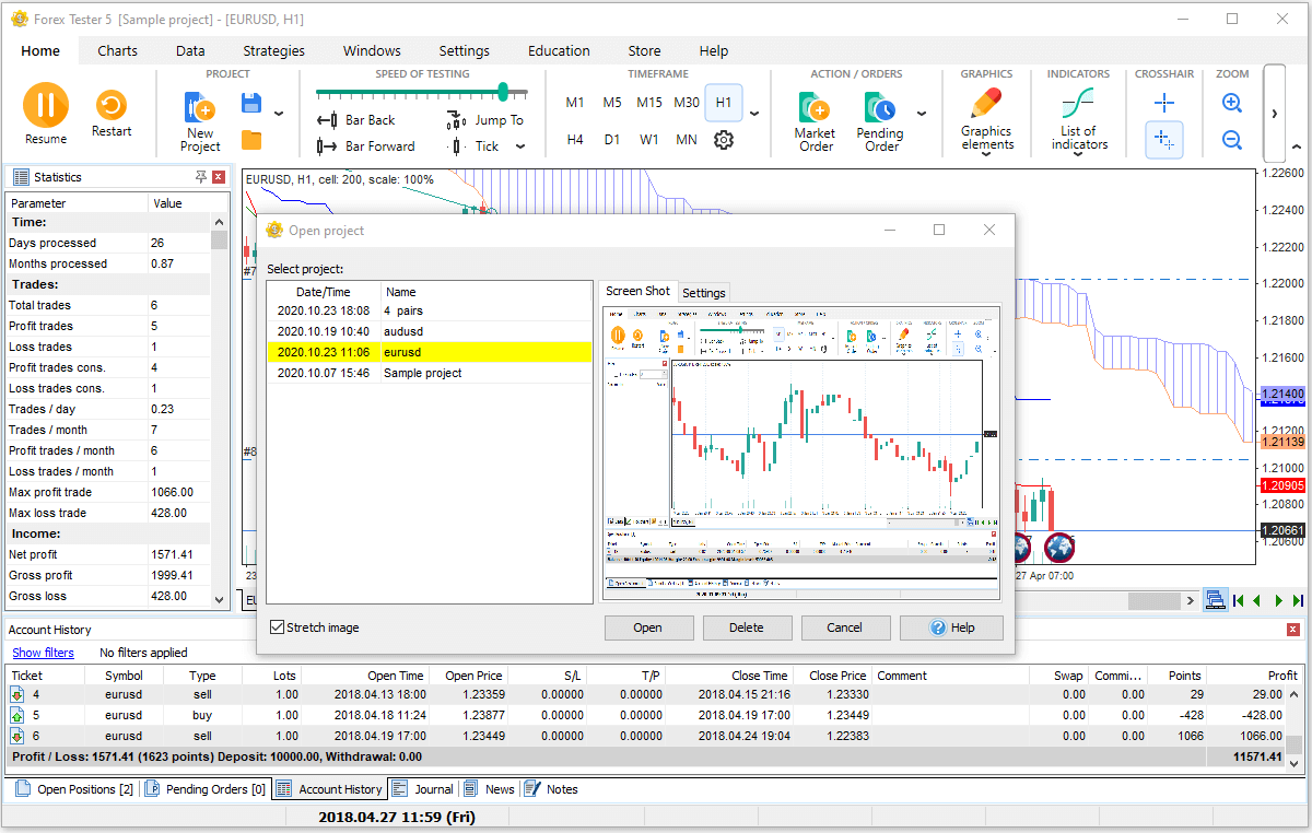 How to save/open saved projects in Forex Tester trading simulator